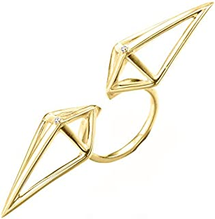 3D triangle statement ring. Arrow ring, Gold tone double finger ring, right hand ring. Handmade 925 sterling silver diamond ring. Geometric urban jewelry bypass ring. Unique adjustable two finger ring
