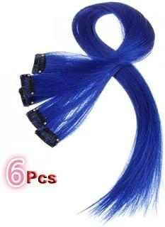 18 Inch High light BLUE Clip in Human Hair Extensions Straight BLUE Clip on Highlights Hair Extensions 6 Pieces/set (#BLUE)