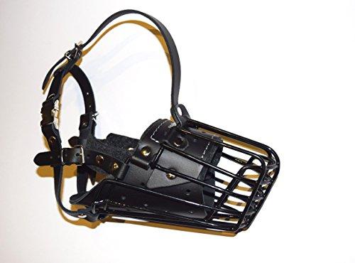 New resistente per cane Museruola a cestino in metallo rivestito in gomma, plastica, pastore tedesco & simili