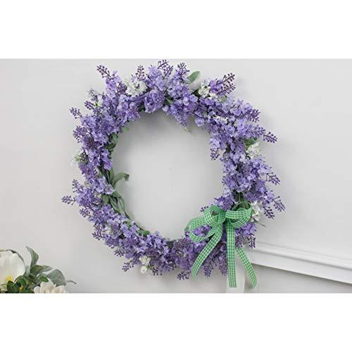 YNGJUEN Künstliche Lavendel Garland Künstliche Green Leaf Garland Gebraucht Sie die Haustür Wand Hauptdekoration Herbst Runde Lila 35cm to Display (Size : 45cm)