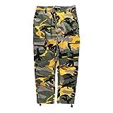 Mxssi Color Camo BDU Pantalones de Camuflaje Cargo Hombres Mujer Casual Streetwear Bolsillos Jogger Naranja Tactical Pantalones de Chándal Hip Hop Pantalón Amarillo M
