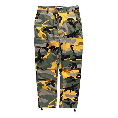 pantaloni donna hip hop Mxssi Color Camo BDU Pantaloni Cargo mimetici Uomo Donna Casual Streetwear Tasche Jogger Pantaloni Tattici Arancione Pantaloni Hip Hop Giallo 2XL
