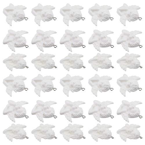 VILLCASE 30 Piezas de Cuentas Espaciadoras Colgantes con Dije en Ángulo para Pulsera Collar Joyería DIY Artesanía Fabricación Blanca