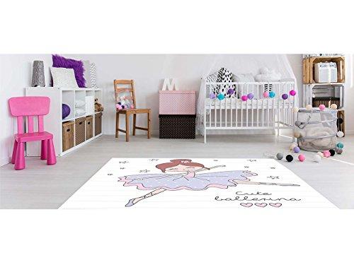 Alfombra Infantil Bailarina PVC 95 cm x 133 cm| Moqueta Adulto PVC | Suelo vinilico para Adultos