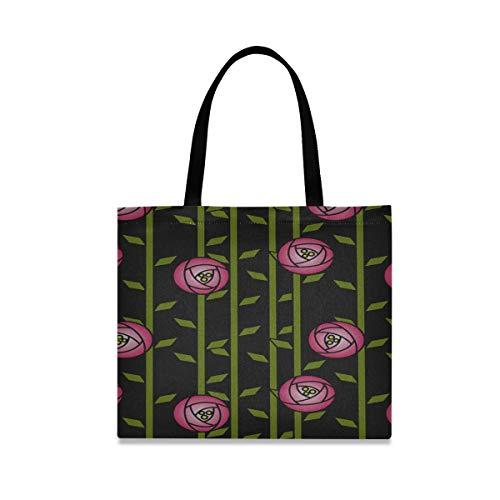 Borsa a tracolla per utensili di grande capacità quadrata Rose Abstract Rose Garden Rose Rennie Mackintosh Borsa a tracolla semplice 19,7 x 16,9 pollici Stampa per ragazze Shopping donna Lav