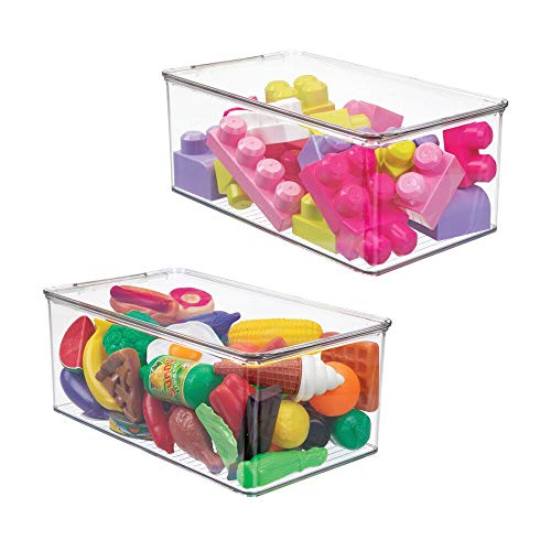 mDesign Set of 2 Toy Box — Storage Container Set for Bedrooms, Playrooms and Nurseries — Under Bed Storage for Toys, Books, Clothes and More — Clear