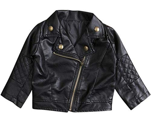 LOTUCY Baby Boys Kids Faux Leather Lapel PU Jacket Oblique Zipper Outerwear Coat Jacket (18-24 Months/Tag7, Black)