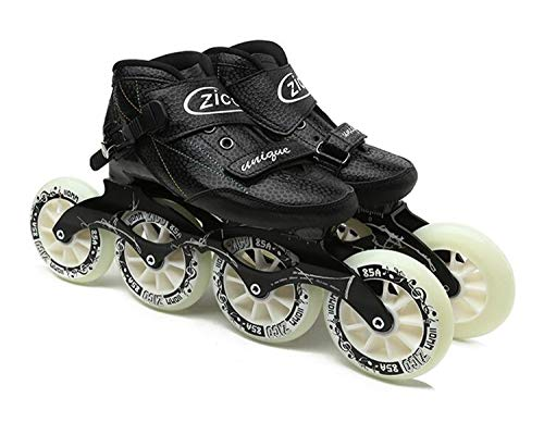 Indoor Track Speed Racing Long Street Trace Asphalt Road Inline Speed Skates Shoes Carbon Fiber Adults Kids Sport Roller Patines Black EU44