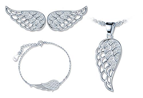 925 conjuntos de joyas de plata, lindo collar de alas de ángel, aretes de alas de ángel y pulsera de alas de ángel, joyería de mujer niña, circón con incrustaciones, regalo de Navidad y cumpleaños