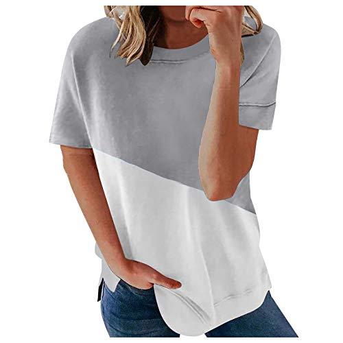Damen Kurzarm T-Shirt Farbblock Streifen Sommer Lose Tunika Tee Tops Shirt Rundhals Shirt Hemd Bluse Oversize Oberteile Bluse Tshirt Tops Teenager Mädchen Basic T-Shirt