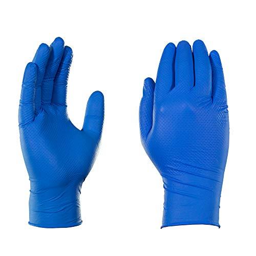 azul real GLOVEWORKS HD Grado industrial sin l/átex para servicio pesado AMMEX GWRB48104E0BX Guantes de nitrilo desechables sin polvo extra grande Caja de 100 6 mil