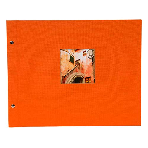 goldbuch Schraubalbum mit Fensterausschnitt, Bella Vista, 39 x 31 cm, 40 weiße Seiten mit Pergamin-Trennblättern, Erweiterbar, Leinen, Orange, 28899