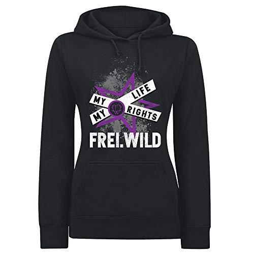 Frei.Wild - My Story My Life, Girl-Kapuzenpullover, Farbe: Schwarz, Größe: XL