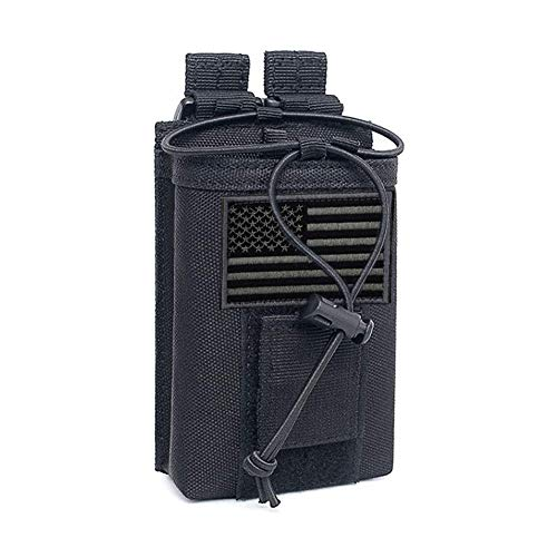 Tactical Radio Holder Molle Radio Pouch Case Heavy Duty Radios Holster Bag for Two Ways Walkie Talkies Adjustable Storage with 1 Pack Velcro (Style2)