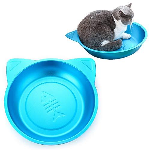 猫鍋 ひんやりクールベッド アルミ製 ねこ鍋 夏用 猫ベッド タライ 滑り止め付き かわいい (ブルー)