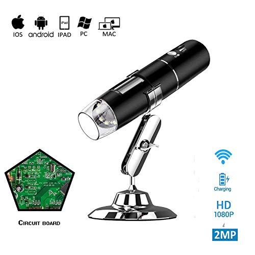 hinataa Wireless WiFi USB Mikroskop Vergrößerung Endoskop 50x bis 1000x, 1080p HD Handheld WiFi Mikroskop mit 2MP Kamera, Metall Ständer iphone/ipad/Samsung/Windows/Mac Smartphones