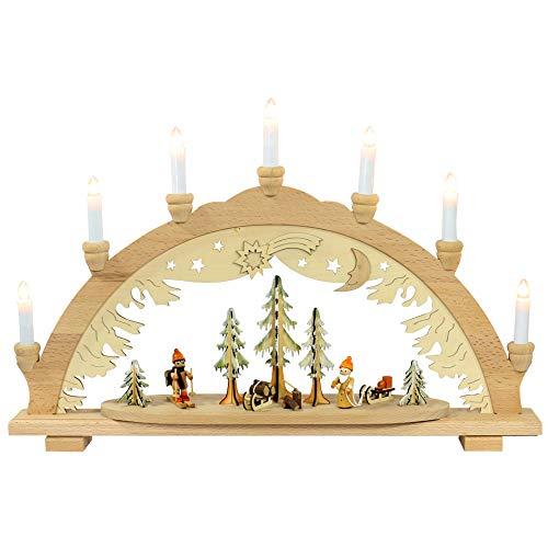 DekoDinge Magnifique chandelier à 7 bougie Env. 57 x 9 x 38 cm Wald mit Weihnachtsmann