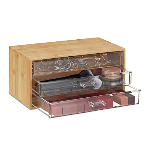 Relaxdays Kosmetik Organizer, 3 Schubladen, Make Up & Schmuckaufbewahrung, HBT 15x30x17,5cm, Bambus Schubladenbox, Natur, PS, 1 Stück