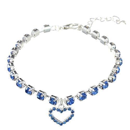 RayMinsino Collar para mascotas con diamantes de imitación de un solo flujo para gatos y perros, joyería ajustable de príncipe y princesa con colgante en forma de corazón