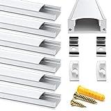 Chesbung 6 Pack U LED Profilo in Alluminio Per Luci LED Strip con copertina, bianca Lattea,Tappi di Chiusura Laterali. Canalina di Alluminio con Cover, Montaggio Universale-Argento-1M
