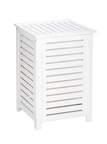 WENKO Cesto para la ropa Oslo - de madera maciza, Madera, 45 x 65 x 45 cm, Blanco