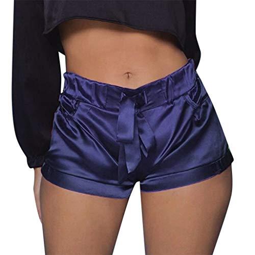 Find Bargain JULYKI Women Summer Casual Satin Shorts Elastic Waist Lounge Pants Beach Shorts with Po...