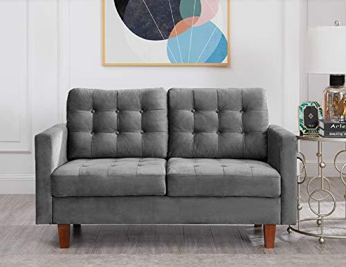 US Pride Furniture Brawith Velvet Loveseat Love Seats, Grey