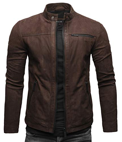 Crone Epic Herren Lederjacke Cleane Leichte Basic Jacke aus weichem Rindsleder (L, Dunkelbraun (Nubukleder))