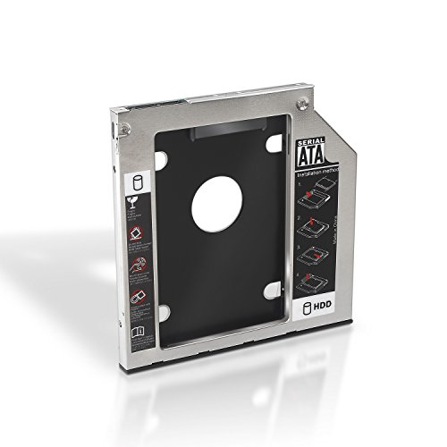 AISENS A129-0151 - Adaptador Disco Duro de 7 mm para Unidad óptica Portátil DE 9.5 mm, Color Plata