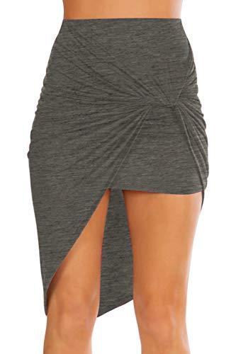 Simlu Womens Drape Up Stretchy Asymmetrical High Low Short Mini Bodycon Pencil Skirt Charcoal Large
