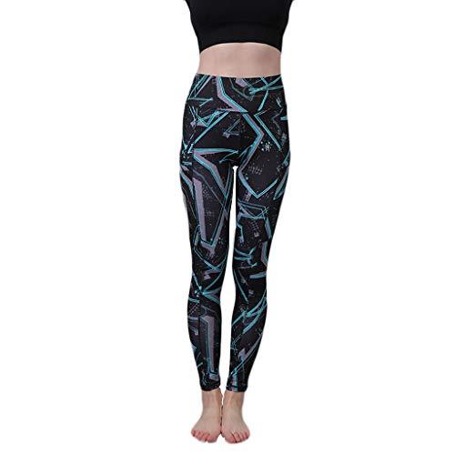 ZZBO Sporthose Damen Yogahose Laufhose Fitnesshose Leggins Yoga Sport Leggings Tights mit Taschen und Drucken und Hohe Taille für Training...