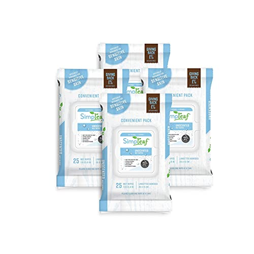 Simpleaf Flushable Wet Wipes | Paraben & Alcohol Free | Hypoallergenic & Safe for Sensitive Skin | Unscented Soothing Aloe Vera Formula (4 Pack)