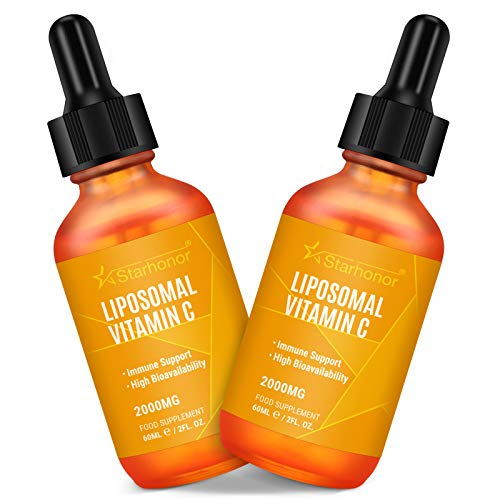 Liposomal Vitamin C 2000 mg Liquid, High Dose Vitamin C Supplement, Supports The Immune System and Reduces Tiredness and Fatigue, 100% Non-GMO & Vegan Friendly (2 Bottles)