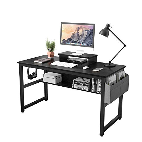 TREETALK Computer Desk, Industrial Writing Desk with Storage Bag, 47in Computer PC Laptop Table with Bookshelf and Wood Monitor Stand Riser, Dining Gaming Table for Home Office (Black)