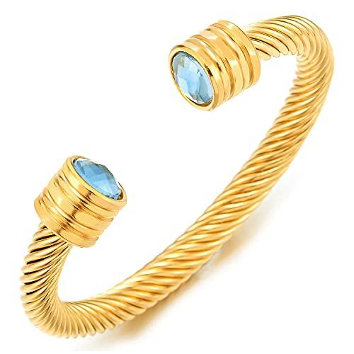 COOLSTEELANDBEYOND Color Oro Pulsera de Hombre Mujer, Acero Inoxidable, Cable de Acero con Azul Cristal Perla, Elástica Ajustable