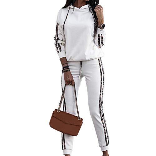Puimentiua Moda Tuta da Donna Set Felpa con Cappuccio Tuta Sportiva Abbigliamento Sportivo Casual Pantaloni Autunno Inverno + Top Fashion Cotton(Bianco,S)