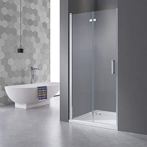 Drehfalttür Dusche 75cm in Nische, Duschwand, Falttür 180 ° öffnet sich nach innen und außen, 6mm Nano Glas,Echtglas Höhe 195cm