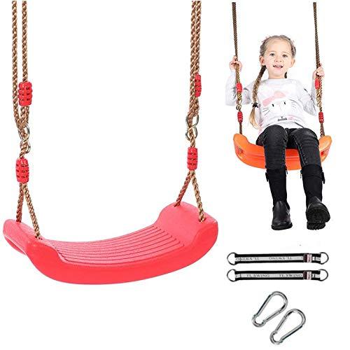 Schaukel für Kinder und draußen, Schaukelsitz aus Kunststoff mit verstellbarem Seil, belastbar bis 150 kg, Schaukel zum Aufhängen, für Kinder, Garten, Außen- und Innenbereich (A-Rot)