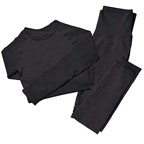 Mayround Nahtloser Frauen Yoga Anzug 2 Teilig Gerippt | Langärmliges Oberteil und Hohe Taille Leggings Gym Kleidung Set | Sportswear-Set für Damen (Schwarz, XS)