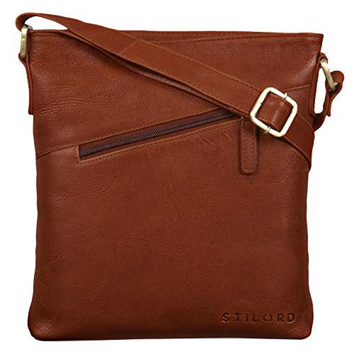 STILORD 'Stella' Vintage Handtasche Damen Leder klein zum Umhängen Schultertasche für Freizeit Shopping Abend Tablettasche Echtleder, Farbe:Texas - braun
