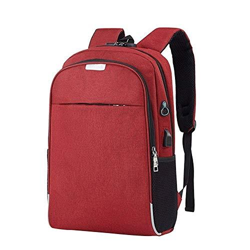Hanpiyig Zaino Porta Pc, Nuovo USB Laptop Backpack Sacchetto di Scuola Zaino Anti Theft Maschio Notebook Viaggio Support Pack Ufficio Uomini Bagpack Viaggi (Color : Burgundy)