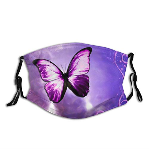 UMBNDFIR Purple Big Butterfly Face Cover Neck Gaiter Washable and Reusable Adjustable Dust Masks Cover