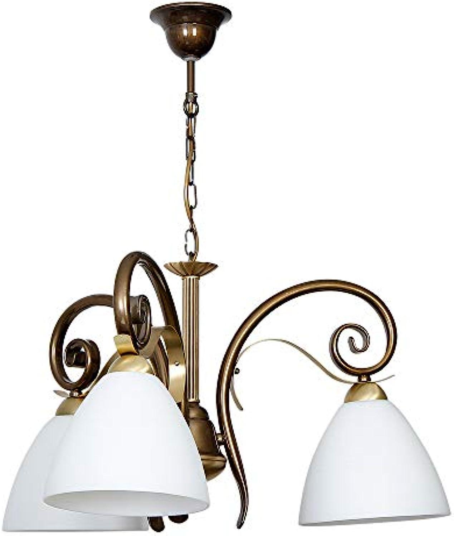 Stilvolle Hngeleuchte in Messing Wei Floraler Stil 3x E27 bis zu 60 Watt 230V aus Glas & Metall Küche Esszimmer Pendelleuchte Hngelampe Pendellampe Beleuchtung innen