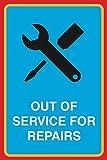 Sortie du service pour les réparations d'impression Clé Tournevis Tableau avis de fenêtre mécanicien Garage Shop Business Sign