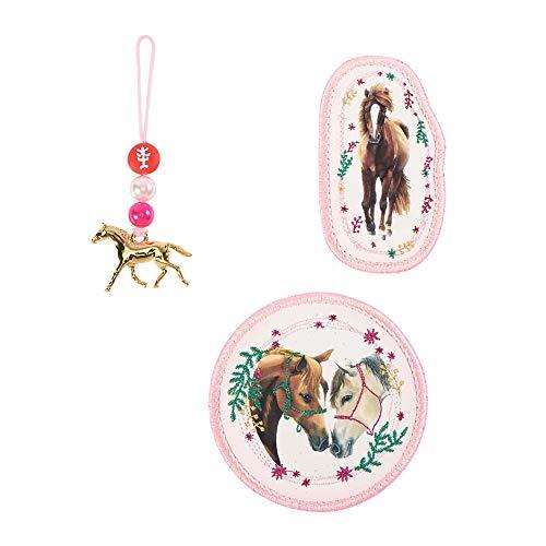 """Step by Step Magic Mags Spiegelburg """"Pferdefreunde, True Love"""", 3-teilig, 2 Magnet-Applikationen und 1 Anhänger, als Ergänzung für den Schulranzen oder Vorschulrucksack, für Mädchen"""