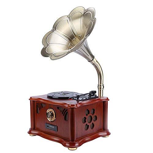 Asncnxdore. DREI-Gang-Phonograph Kopf Mahagoni Farbe Jahrgang Antikes Grammophon Horn Trompete 15-Zoll-Vinyl-Plattenspieler Holz Wohnzimmer Im Europäischen Stil Vinyl-Plattenspieler 44 * 35 * 75cm