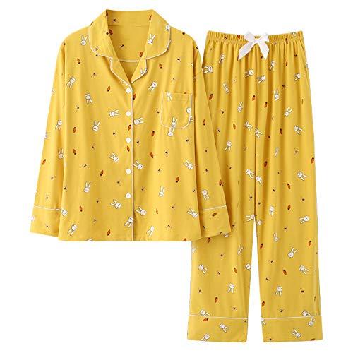 LEYUANA Ropa de Dormir para Mujer, Pijamas Lindos de algodón para niñas, Blusas de Manga Larga + Pantalones con Bolsillos, Lunares, Ropa de salón Informal XXXL 002