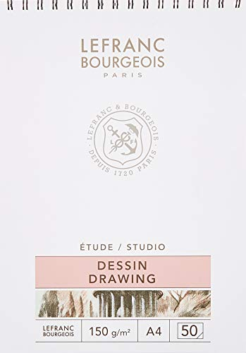 Lefranc & Bourgeois 301335 Zeichenblock, Weiß, A4-50 Blatt Zeichenpapier Spiralgebunden, 150 g/m²