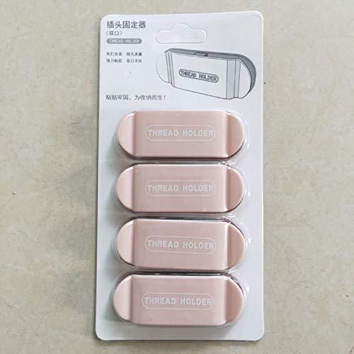 Adhesivo de pared para colgar zócalo, adaptador de enchufe para almacenamiento en el hogar, soporte adhesivo para cocina, baño, 4 unidades, color rosa