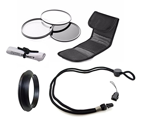 Canon PowerShot G1 X Mark II High Grade Multi-Coated, Multi-Threaded, 3 Piece Lens Filter Kit (58mm) + Lens/Filter Ring + Krusell Multidapt Neck Strap + Nw Direct Microfiber Cleaning Cloth